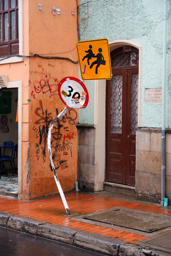 Bent Speed Limit Sign in Bogota Colombia