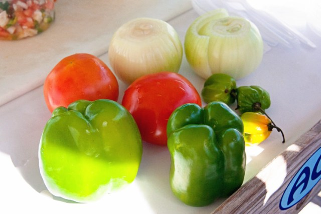 {Some of the key ingredients: bell pepper, tomatoes, onion, and habanero. Not pictured: lime, orange juice and salt.}