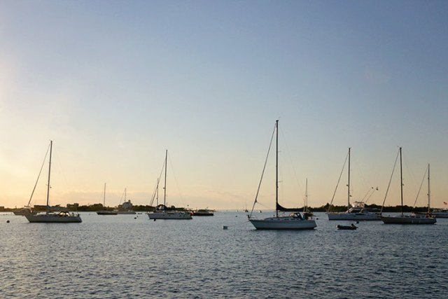 The mooring field in Block Island, RI is a great spot for an overnight stay.