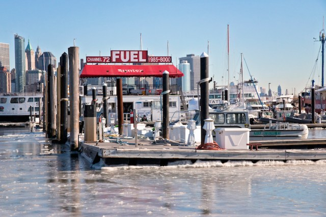 Water freezes at Liberty Landing Marina during bomb cyclone