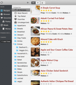 screenshot of paprika cookbook app