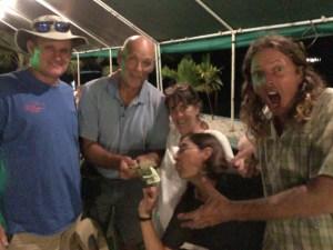 Mieco Beach Yacht Club Pub Quiz winners Seal and Viadante with emcee Good News. Photo: Cesar dela Cruz