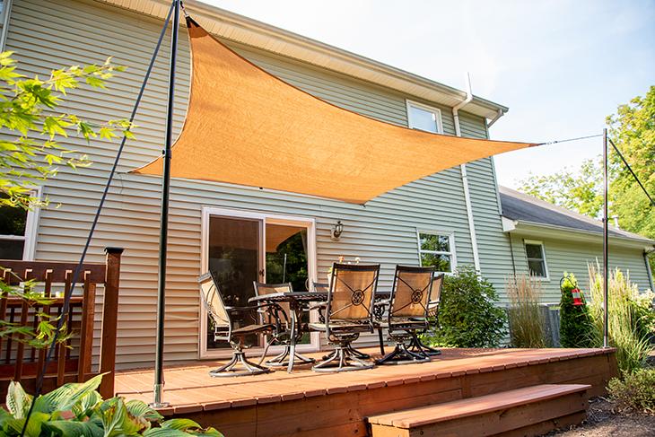 how to make a temporary patio sun shade
