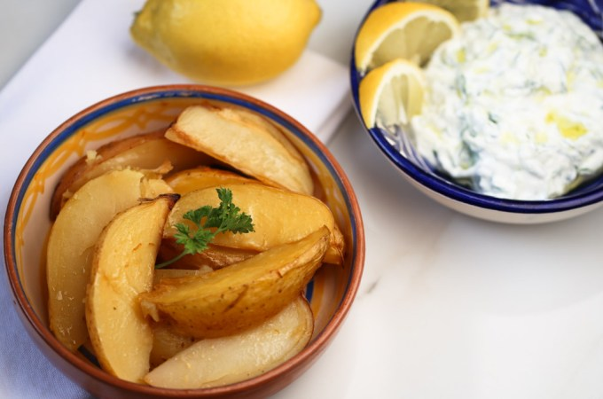 Greek Lemon Potatoes with side Tzatziki | Sails & Spices