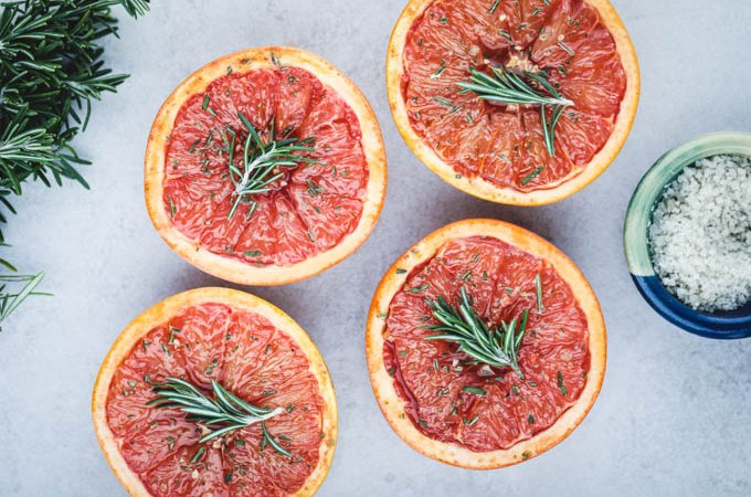 Baked Grapefruit with Rosemary & Salt