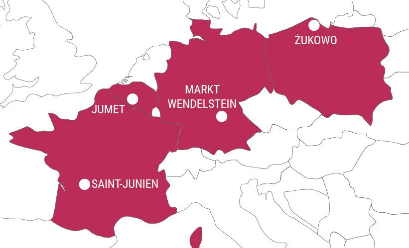 Carte des villes jumelées