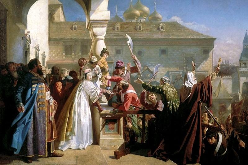 Tsaritsa Natalya Kirillova shows Ivan V to the Streltsy to prove he is alive and well