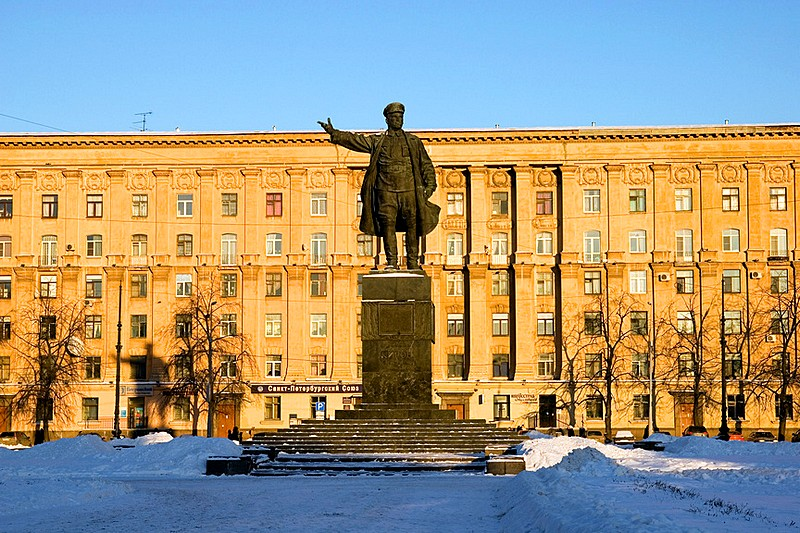 Monument to Sergey Kirov (Soviet politician) on Kirovskaya Square in St Petersburg, Russia