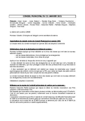 Conseil du 21 janvier 2021
