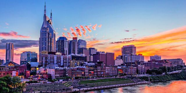 Downtown Nashville at Dusk from Pedestrian Brige