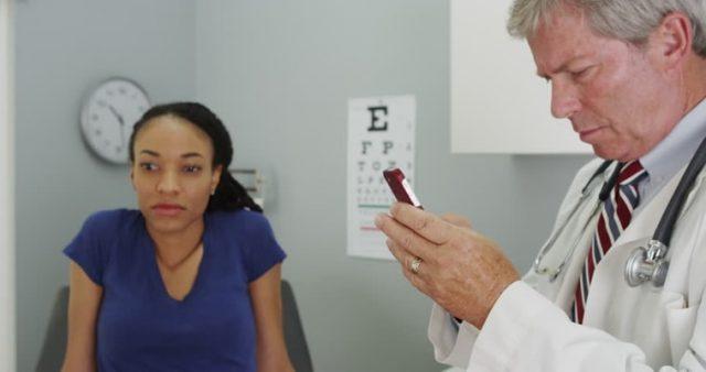 doctor ignoring woman