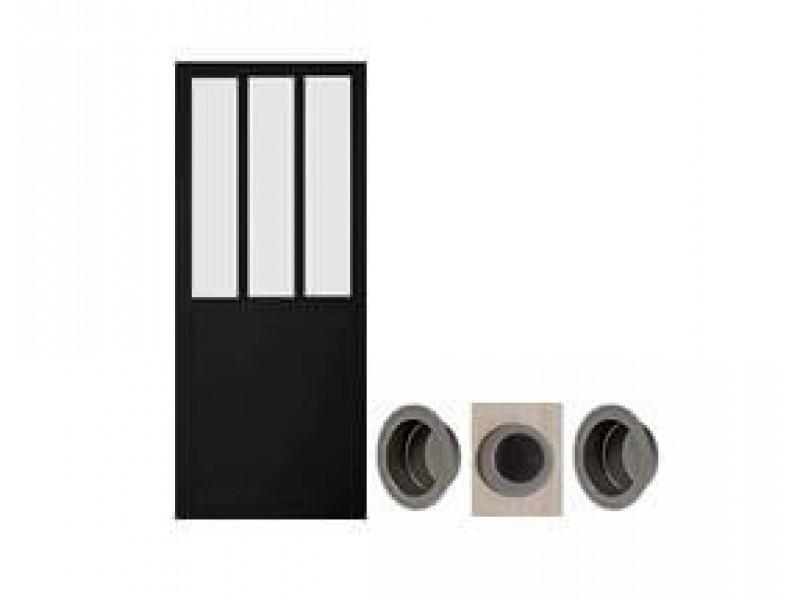 porte coulissante atelier noire 204 x 73 cm