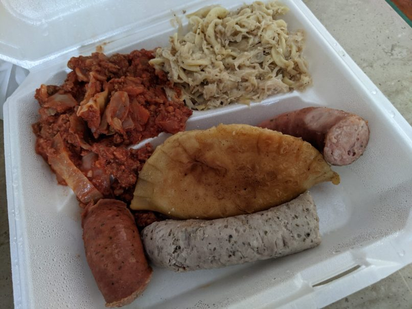 Dinner: fresh and smoked sausage, cheese pierogi, lazy golabki, lazy pierogi, with rye bread and dessert