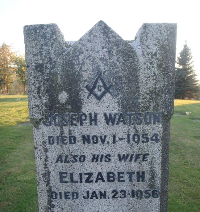 Joseph Watson, grave inscription, Ladysmith Cemetery (photo: St. John's Lodge No. 21 Historian)