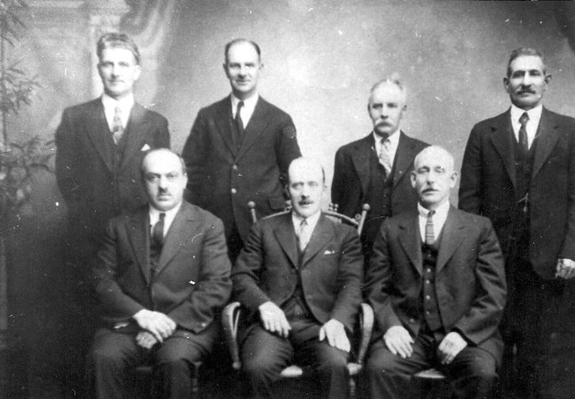 Ladysmith Council, 1931. St. John's Lodge No. 21 members David Davidson (standing, right) and Joseph Mason (mayor, seated middle of first row) [photo: Ladysmith & District Historical Society]