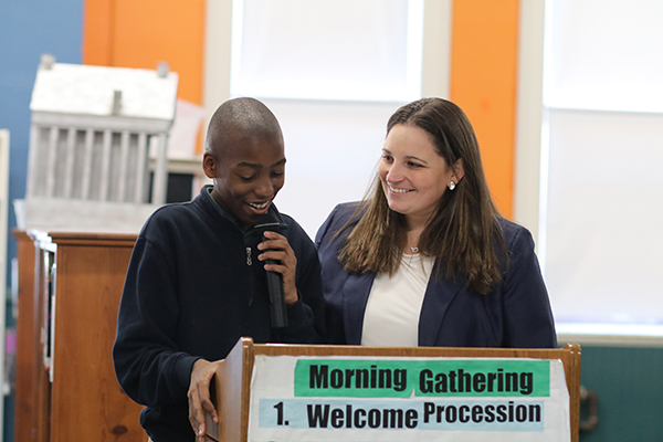 Student Speaking at Morning Gathering