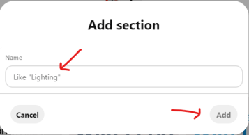 create a section on a Pinterest board