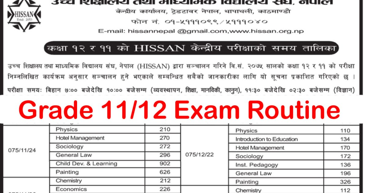 Grade 11 and 12 examination routine 2075 from HISSAN