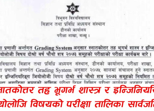 BIM Third Semesters Make up Exam Result 2019: Tribhuvan University Tribhuvan University, Faculty of Management, Examination Controller Division published Bachelor of Information Management (BIM) Seventh Semesters Make upExamination Result-2019. Tribhuvan University:M. Sc. Geology and Engineering Geology Fourth Semester Exam Routine Tribhuvan University, Institute of Science and Technology publish the examination routine of M. Sc.Geology and Engineering GeologySecond Year,Fourth Semester2073 batch regular and partial. Examination is going to be held from Chaitra 05, 2075, Examination Time: 12:00 PM andExamination Center:Public Administration Campus, Balkhu