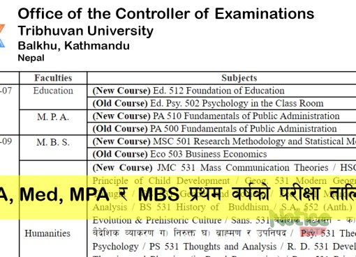Tribhuwan University PUblished exam routine of Master Level First Year. M.Ed, MA, MBS and MPA First Year Routine are given below. You can download Pdf also.