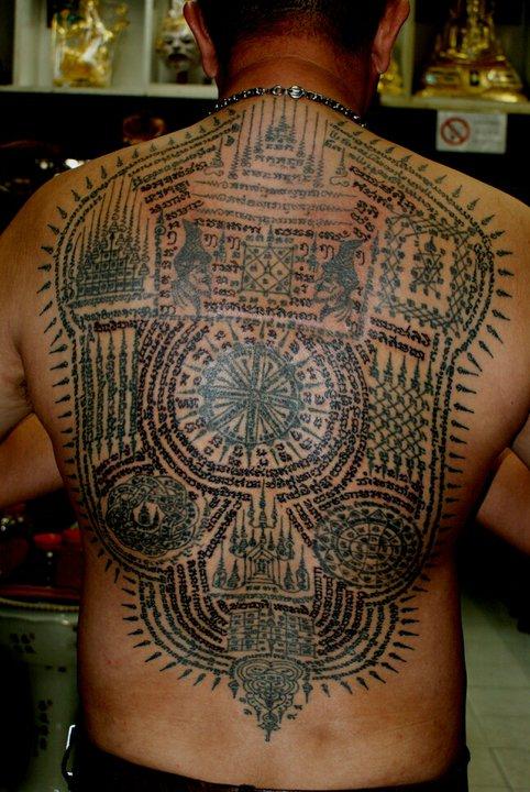 Full Back Piece Sak Yant Tattoos by Ajarn Man