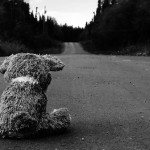 road sad teddy bears
