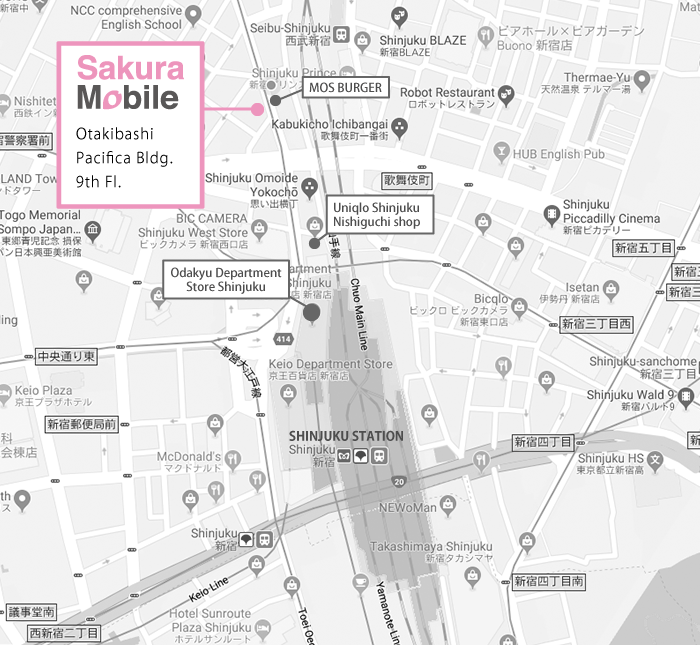 SAKURA MOBILE SHINJUKU FRONT OFFICE MAP