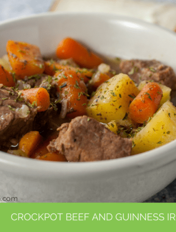 Celebrate St. Paddy's Day with this healthy, easy to make crockpot beef and Guinness Irish Stew recipe.