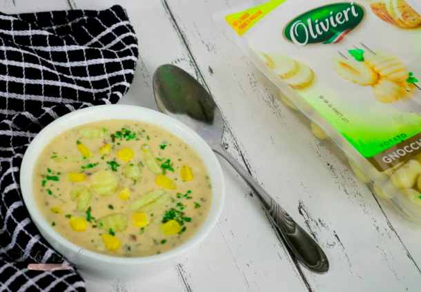 Creamy Gnocchi Soup in a bowl with a spoon