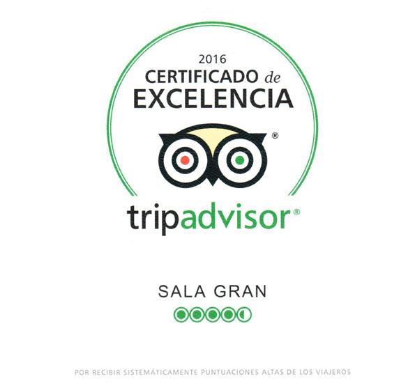 Certificat d'excel·lència Tripadvisor 2016