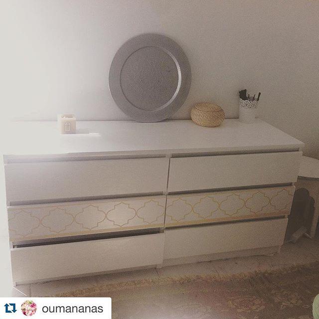 repost oumananas commode ikea marron repeinte en blanc stickers salamstick deco. Black Bedroom Furniture Sets. Home Design Ideas