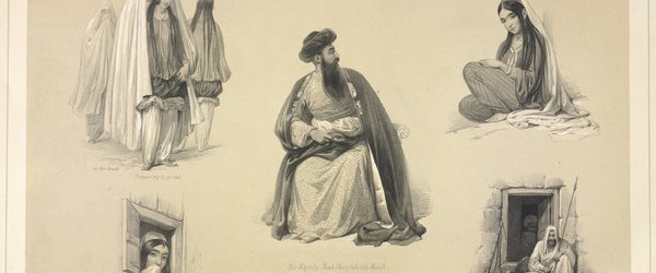 """Shah Shuja ul-Mulk and other drawings, published in """"Sketches in Afghaunistan"""" (1842) by James Atkinson."""
