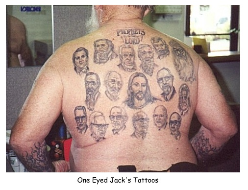 Picture of a guy with the Mormon Prophets and Mormon Jesus tattooed on his back.