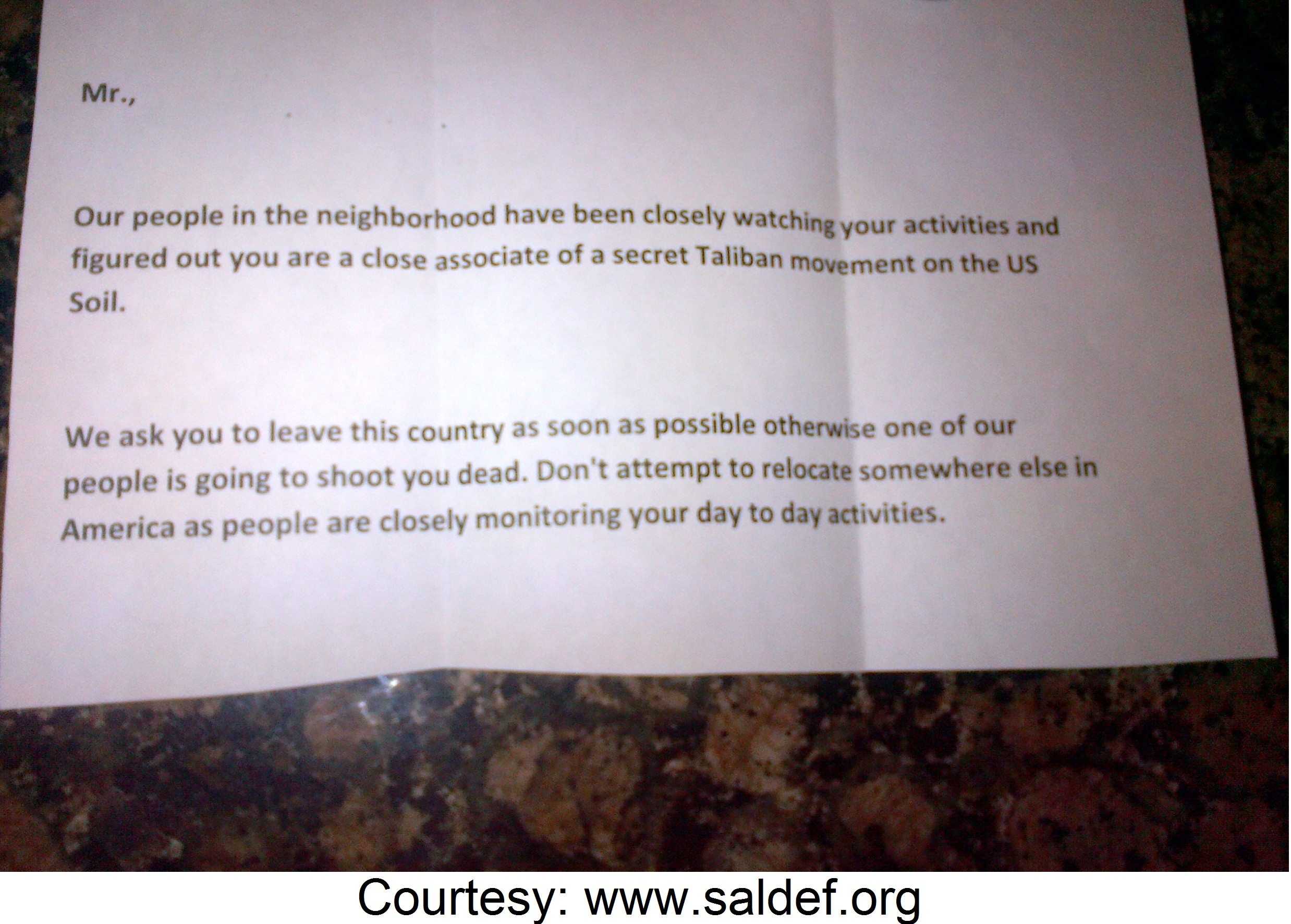 """Sikh American Family Received Death Threat"" (photo: saldef.org)"