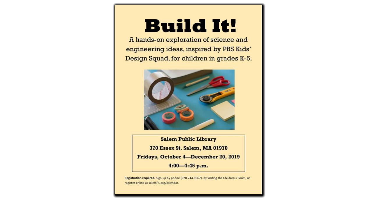 Build It!  Fridays Oct 4 - Dec 20