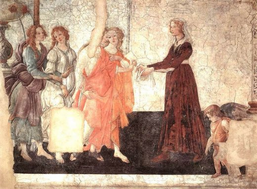 sandro botticelli venus and the graces offering gifts to a young girl paintings