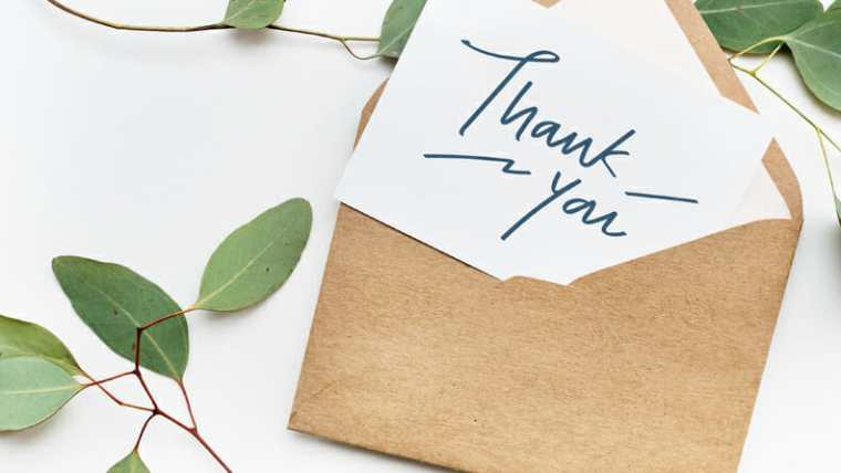 handwritten thank-you note