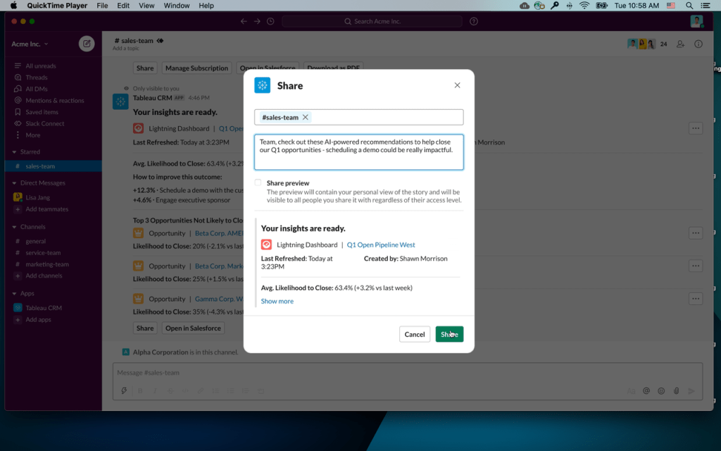 Initial design showing a Tableau CRM Slack share modal with the sales team channel specified in the recipient input field, a short message to the team, and a preview of the asset details that will be shared with the team.
