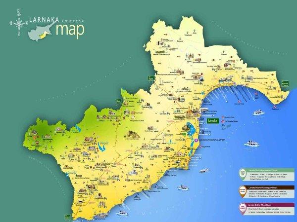 Карты Ларнаки о Кипр Подробная карта Ларнаки на