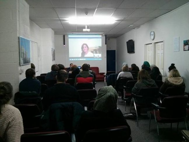 Photograph of the last Rethink, Rebuild Movie Night showing A Syrian Love Story