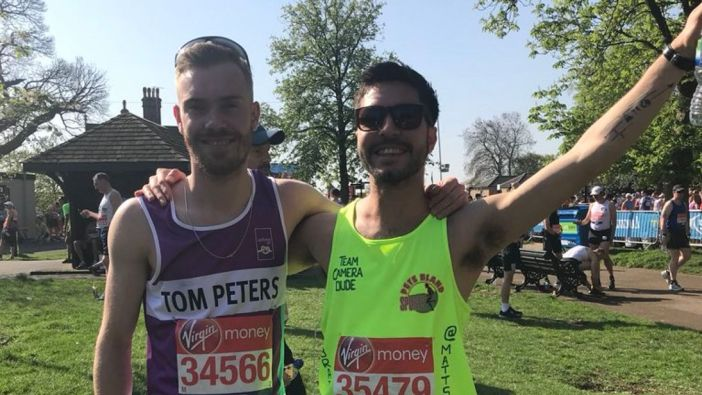 At the London Marathon 2018, last Sunday. People have 3.7 miles in memory of Matt
