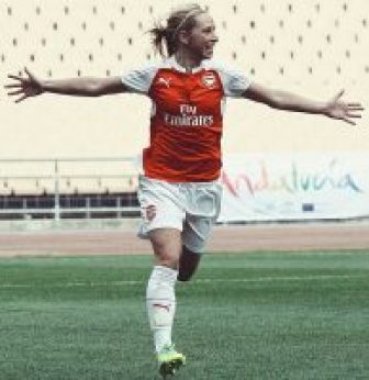 Jordan Nobbs playing for Arsenal Ladies FC, who have popularised women's football in the UK