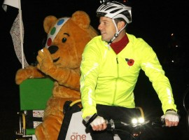 One Show presenter Matt Baker starts his Children in Need rickshaw challenge from Edinburgh Castle in Scotland. 2011
