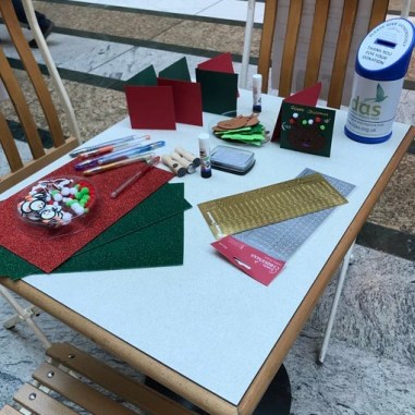 Christmas Card Station. Photo by Samantha Fisher