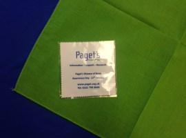 A handkerchief emblazoned with Paget's Association details