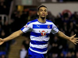Reading's Nick Blackman celebrates scoring his side's first goal late in the game.