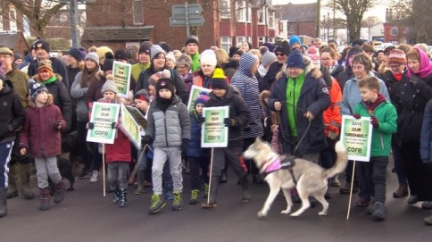 Protests against the housing plans [credit: ITV News]