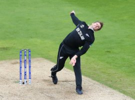 BIRMINGHAM, ENGLAND. 19 JUNE 2019: Lockie Ferguson of New Zealand bowling during the New Zealand v South Africa, ICC Cricket World Cup match, at Old Trafford, Manchester, England.(Credit Image: ESPA/Cal Sport Media/Sipa USA)