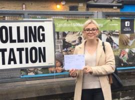Maddy Bateson at polling station - taken by Robert Howe