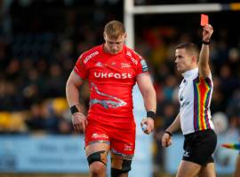 Jean-Luc Du Preez sees red during Sale Sharks' 20-13 defeat to Worcester Image credit: Sale Sharks